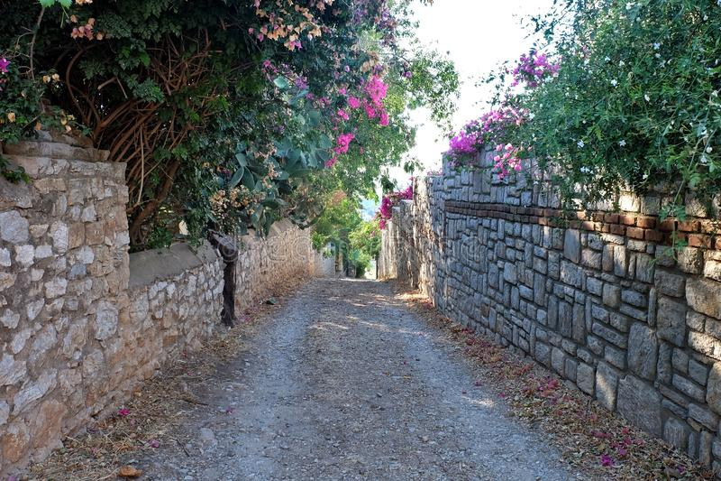 Street in old Datca, Mugla, Turkey. Old Datca, summer travel destination in Mugla, Turkey stock photo