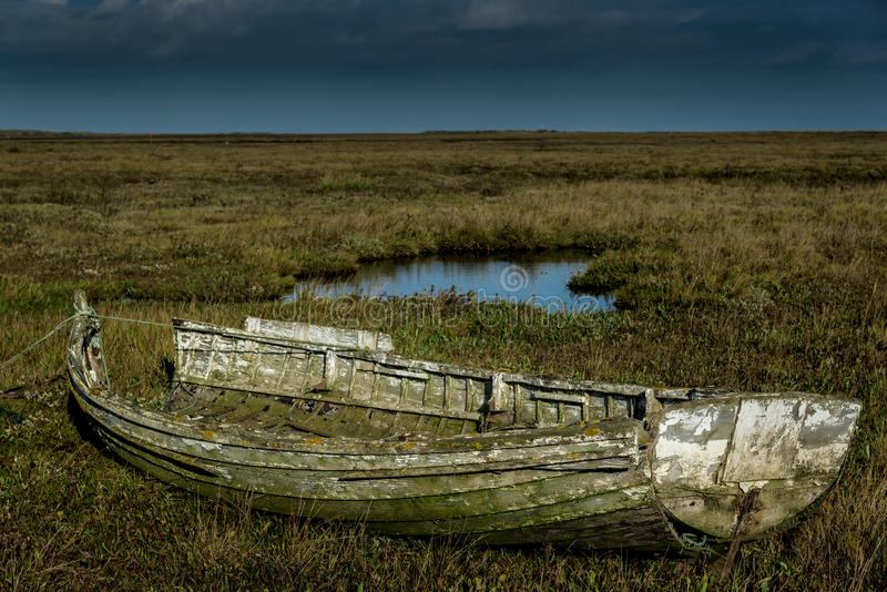Old And Decaying Isolated Wooden Rowing Boat Stock Photo ...