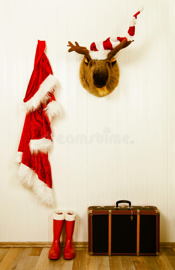 Old decoration for christmas in vintage style in red white and b royalty free stock photography