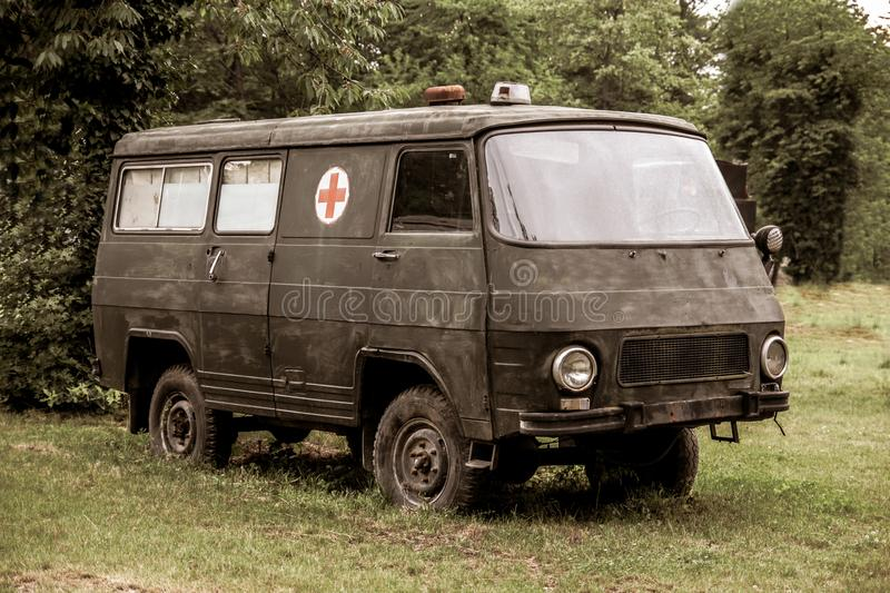 Old decorative military ambulance van used in the war stock photo