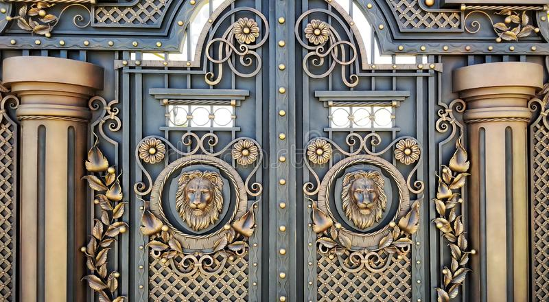 Decorative trim with wrought metal gates royalty free stock photography