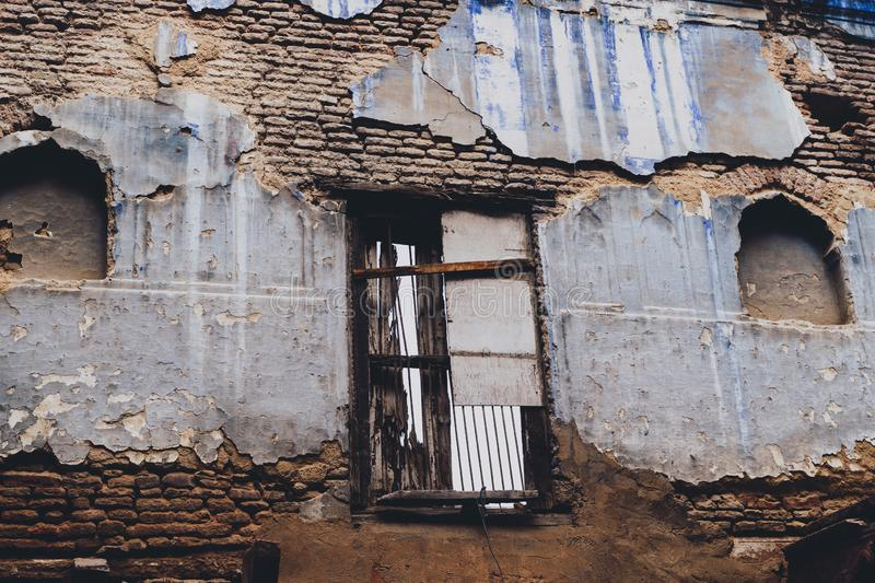 Old decrepit abandoned building in Old Delhi India.  royalty free stock images
