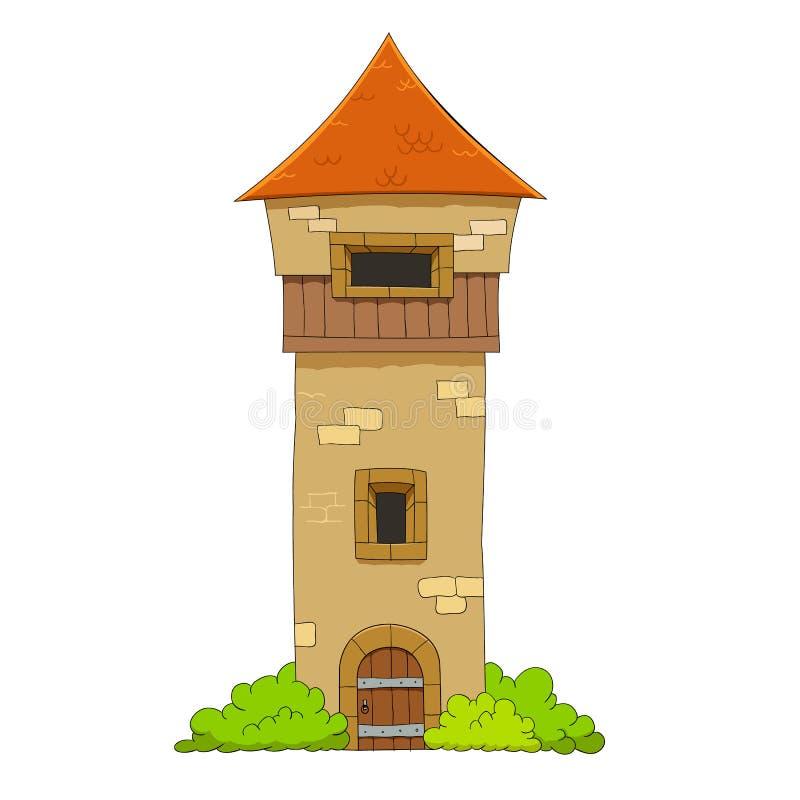 Old defense tower. Cartoon illustration of medieval defense tower vector illustration