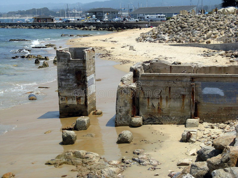 Old defunct fish cannery in Monterey stock photo