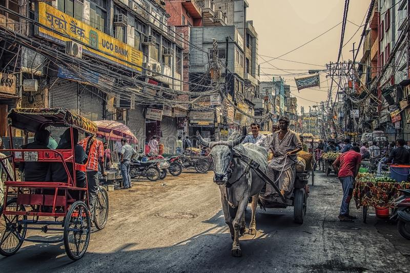 Old Delhi city in India. May 2018 - Old Delhi, India - Busy street in old Delhi, India stock images