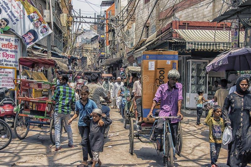 Old Delhi in daytime. Busy street in old Delhi, India stock photo