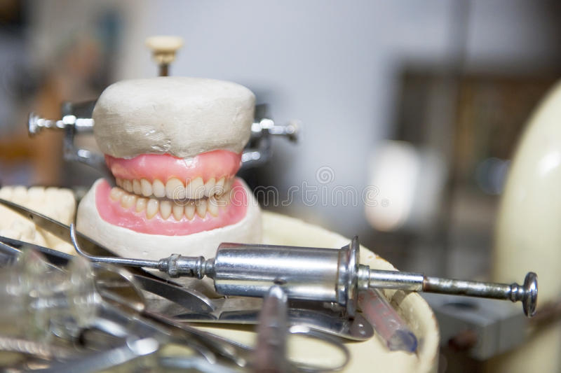 Old dentures royalty free stock photo