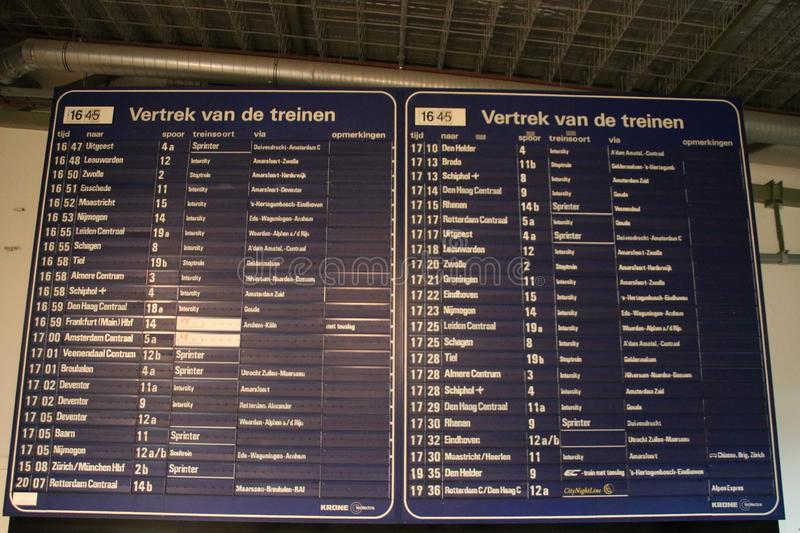 Old departure board from Utrecht Central Station in the railway museam as one of the special items of the collection. stock photo