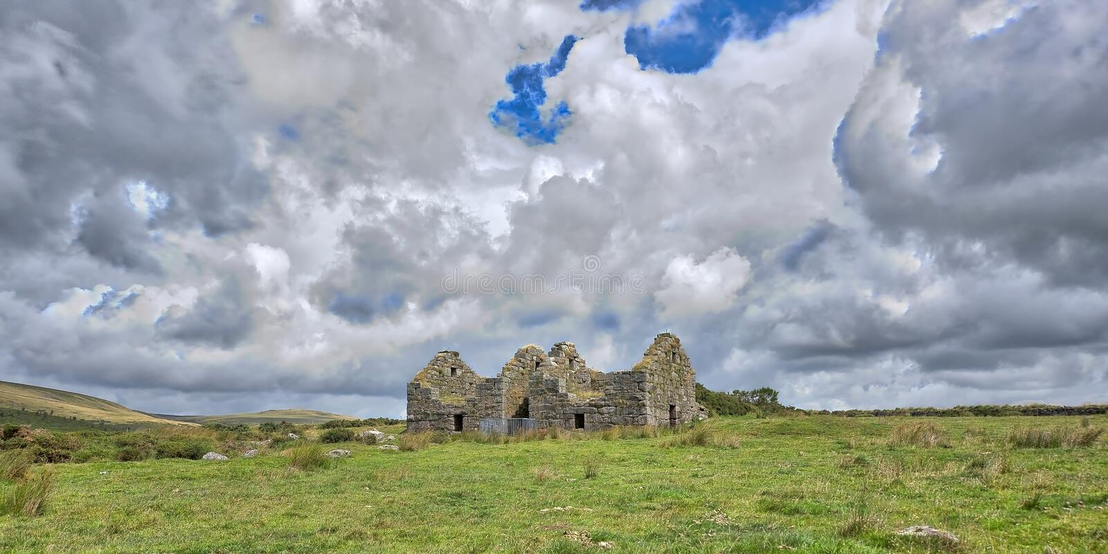 Old Derelict Graite Tin Mine on top of Dartmoor in England stock photos