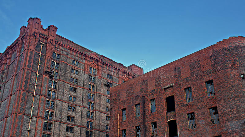 Old derelict victorian tobacco warehouse royalty free stock photos
