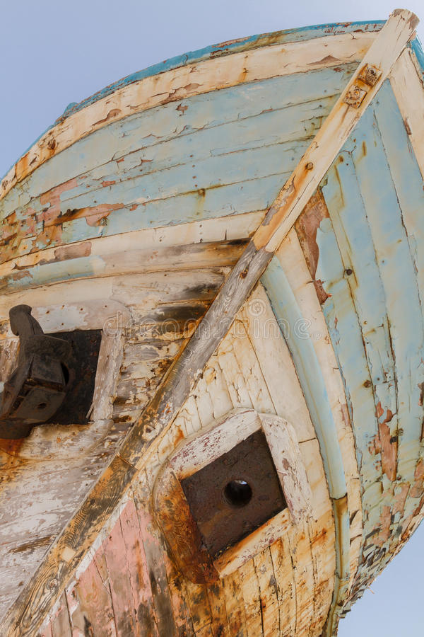 Old Derelict Wooden Fishing Boat Wreck diagonal perspective royalty free stock images