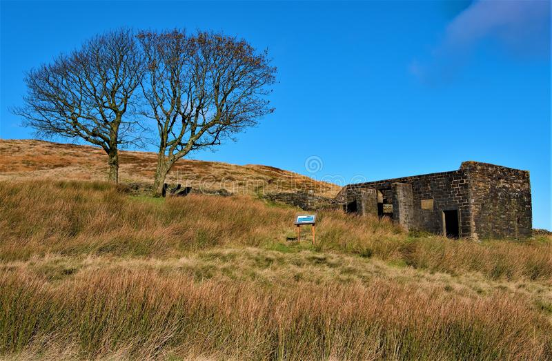 The old deserted farmhouse, Top Withens, Haworth, West Yorkshire. stock photos