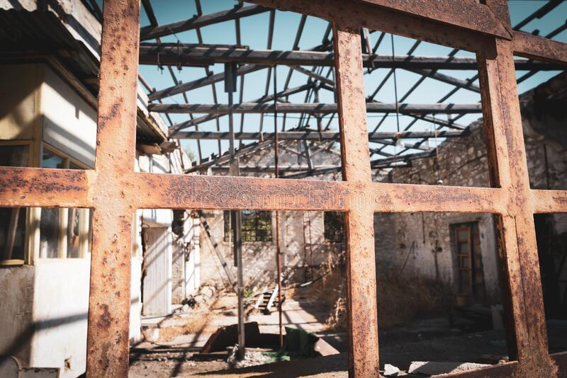 Old deserted industrial building royalty free stock photo