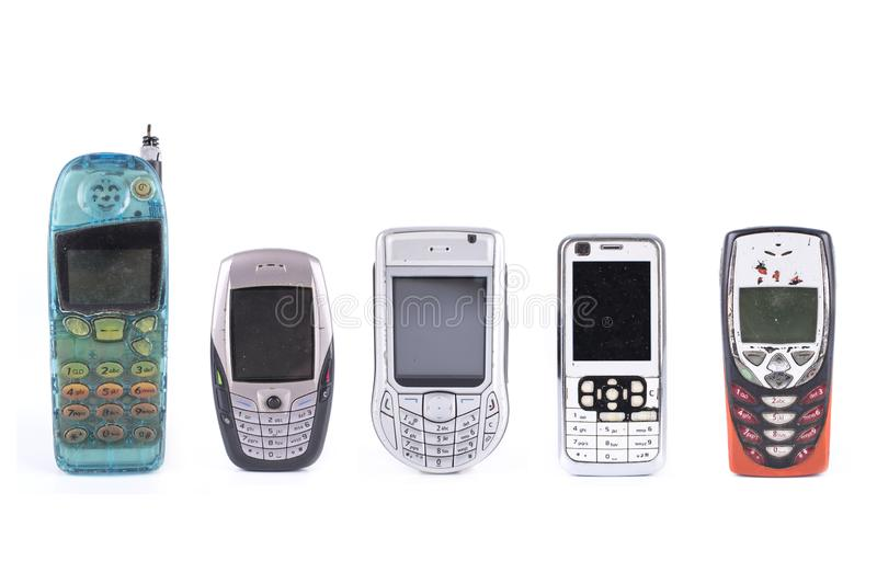 Old design collection of cell phones isolated on white background stock photos
