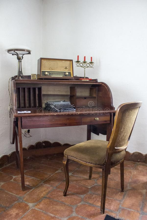 Old desk table in old house in Ethno willage stock photos
