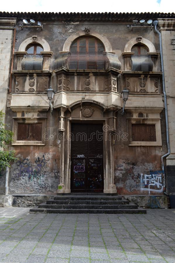 Sicilian abandoned villa with graffiti on it royalty free stock images