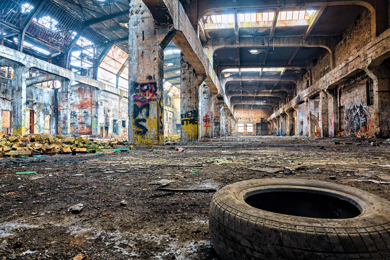 Old destroyed an abandoned factory.HDR. High dynamic range royalty free stock image