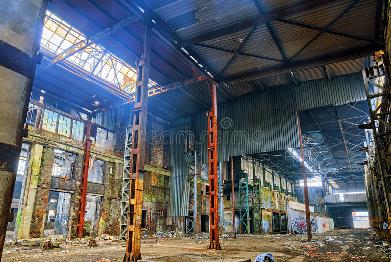Old destroyed an abandoned factory.HDR. High dynamic range royalty free stock images