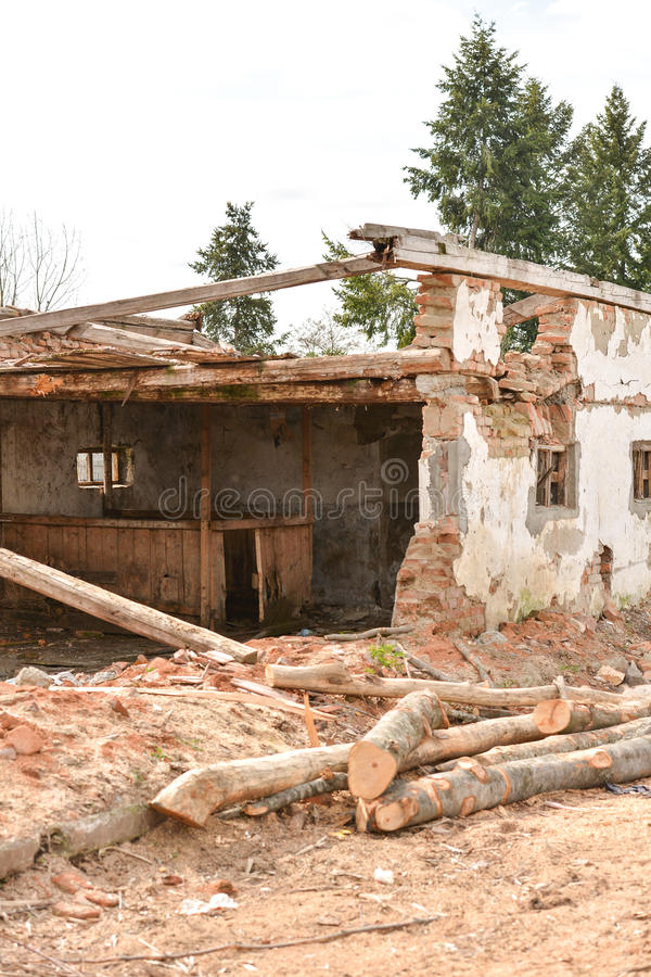 Old destroyed and abandoned house. effect of earthquake stock photo