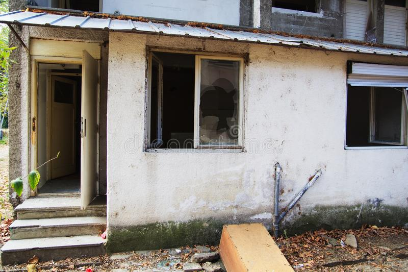 Old destroyed apartment royalty free stock photo