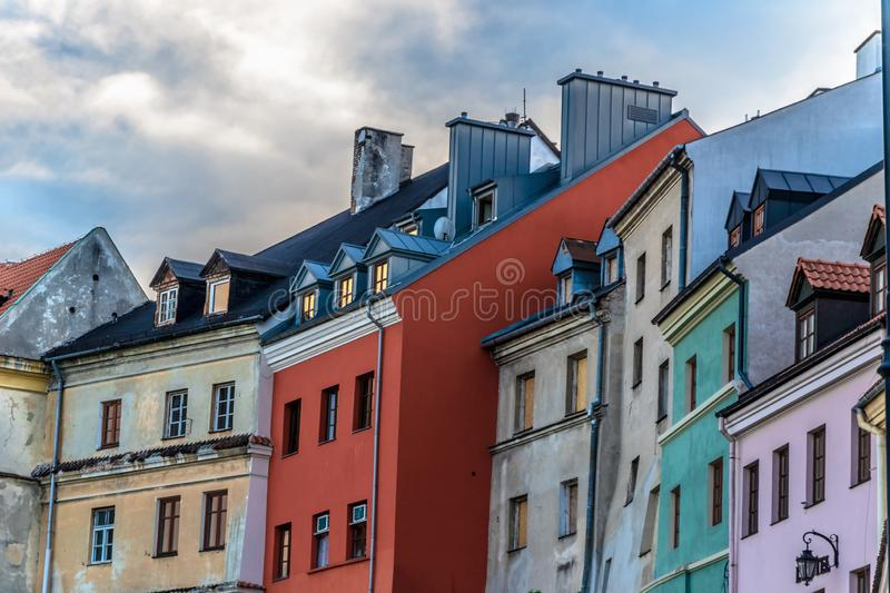 Old destroyed and new restored architecture in old city center. Of Lublin stock image