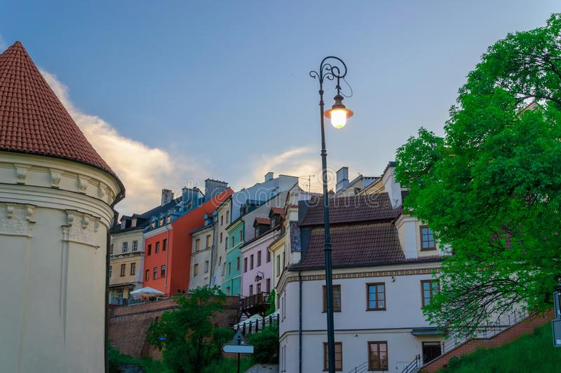 Old destroyed and new restored architecture in old city center. Of Lublin stock photo