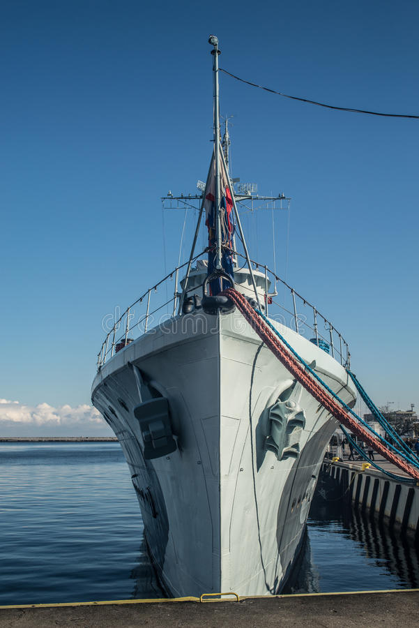 Old destroyer bow. Polish museum destroyer Blyskawica mooring in Gdynia harbor, Poland royalty free stock photos