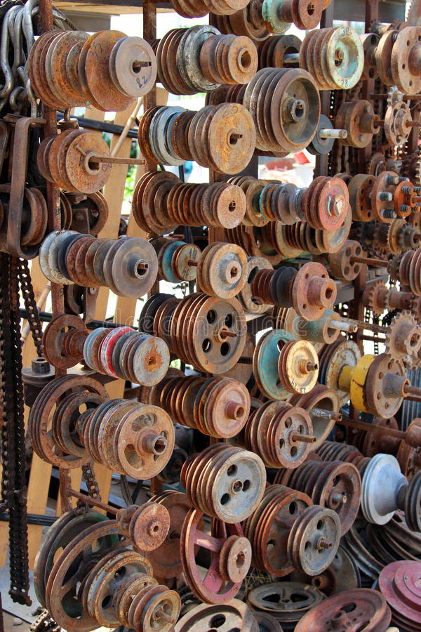 Old details. Spare old parts and wheels previously used stock photo