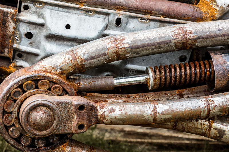 Old details of vintage mechanism with rusty parts stock photos