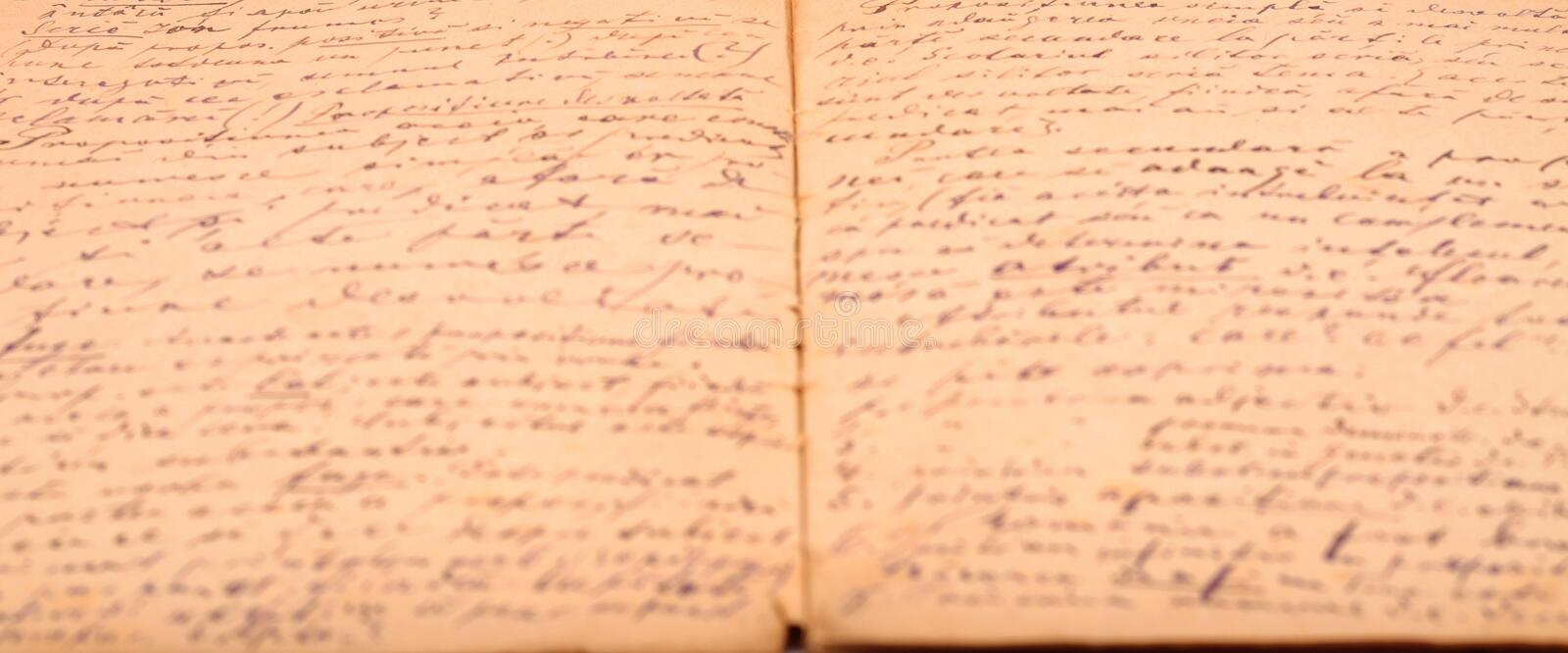 Old diary handwritten. Old diary hand written background royalty free stock photos