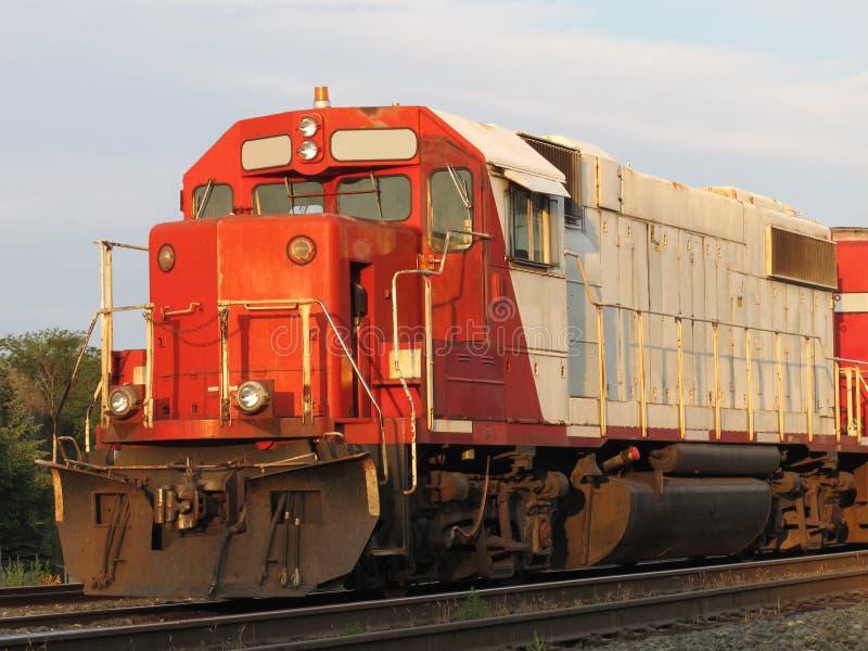 Old diesel electric railroad train locomotive. stock image