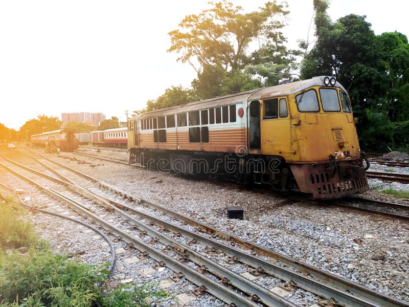 Old diesel locomotive,retro train in thailand and asia.  royalty free stock images