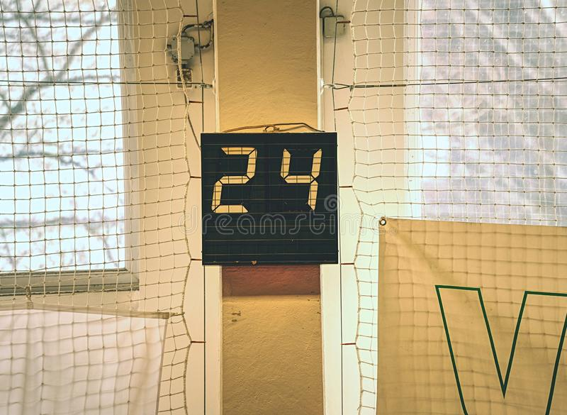 Old digital timing scoreboard, Sport match result board royalty free stock photography