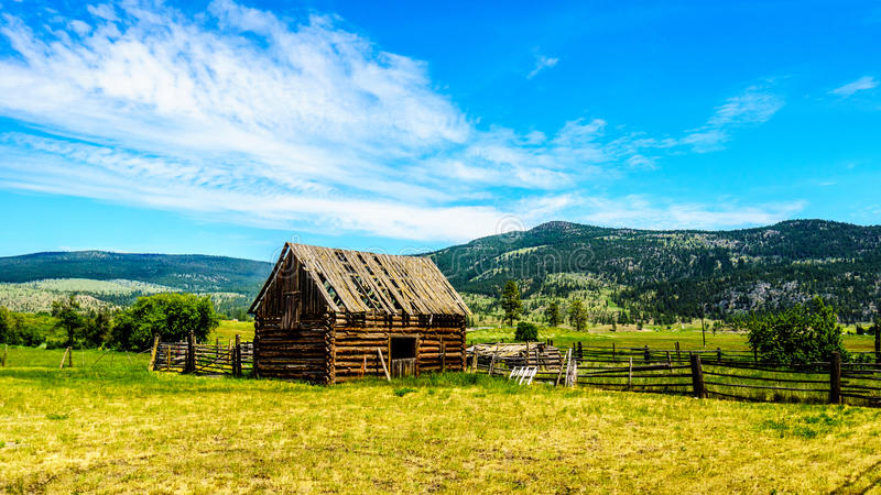 Old dilapidated farm building in the Lower Nicola Valley near Merritt stock photography