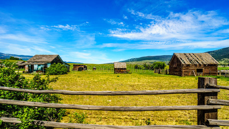 Old dilapidated farm buildings in the Lower Nicola Valley. Near Merritt royalty free stock photography