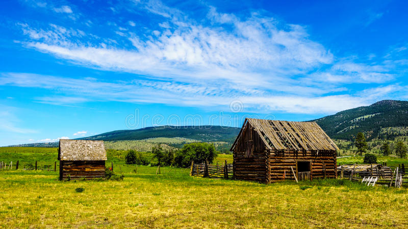 Old dilapidated farm buildings in the Lower Nicola Valley. Near Merritt stock image
