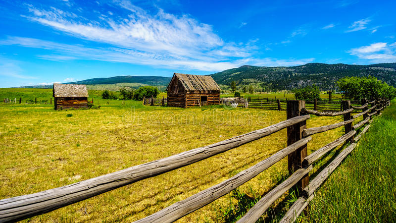 Old dilapidated farm buildings in the Lower Nicola Valley near Merritt British Columbia. Canada royalty free stock photos