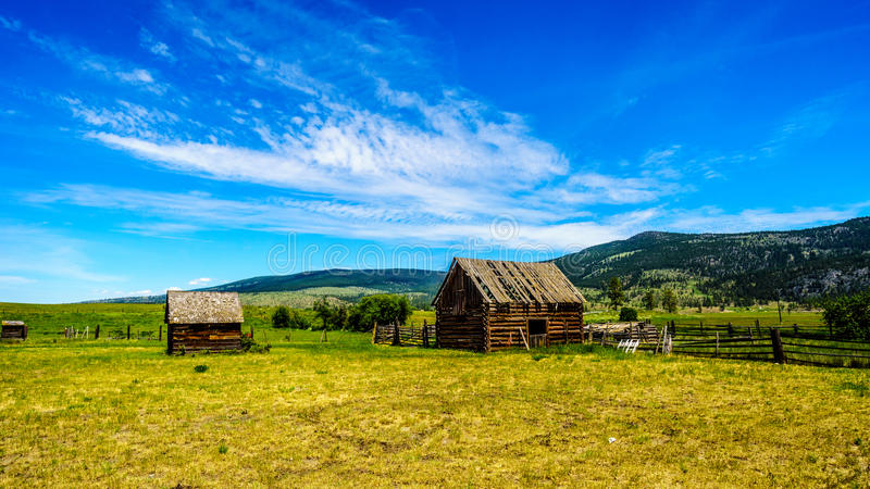 Old dilapidated farm buildings in the Lower Nicola Valley near Merritt. British Columbia, Canada royalty free stock images