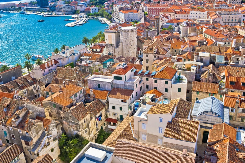 Old Diocletians palace in Split aerial view. Dalmatia, Croatia stock photos