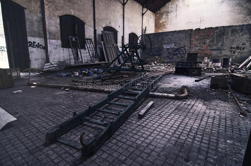 Old and dirty abandoned warehouse royalty free stock photos