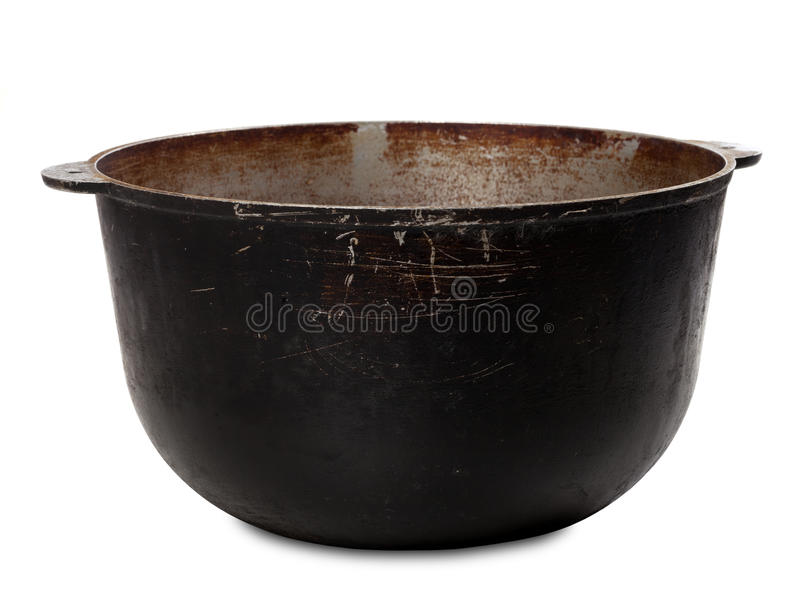 Old dirty big pot. On white background stock photography