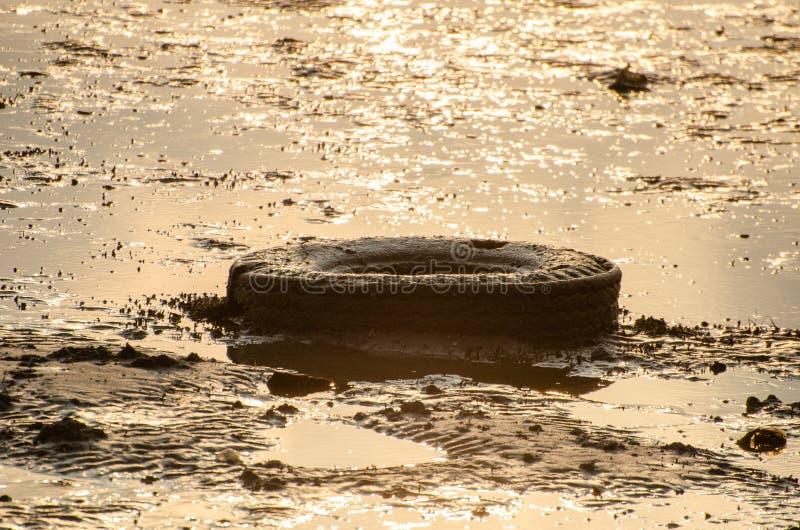Old dirty car tyre. At sea coastal royalty free stock images
