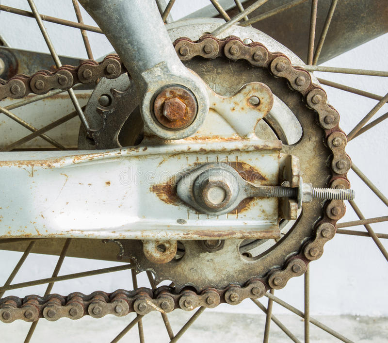 Old dirty motorcycle chain with rusty royalty free stock image