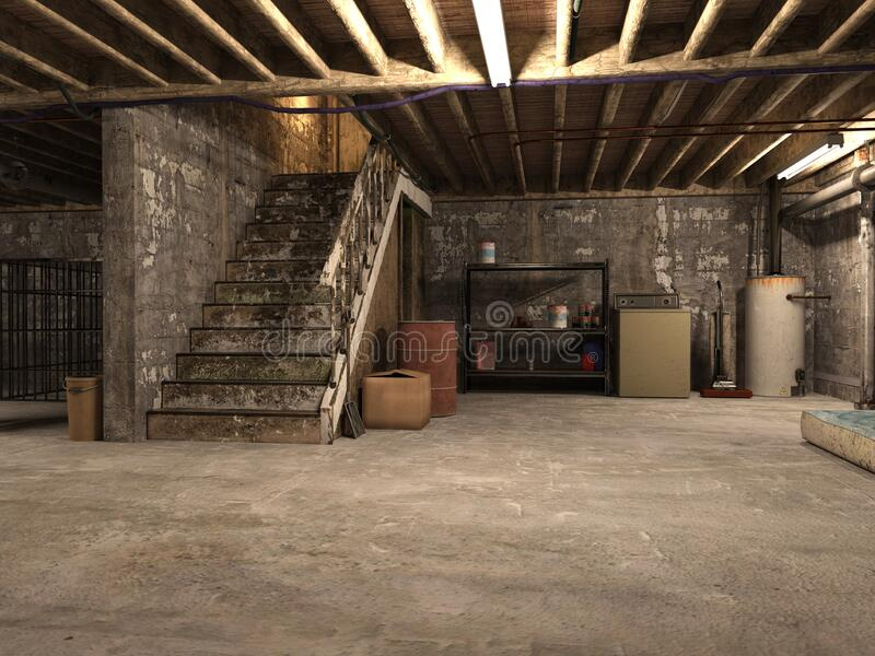 Old Dirty Musty Basement Background stock images