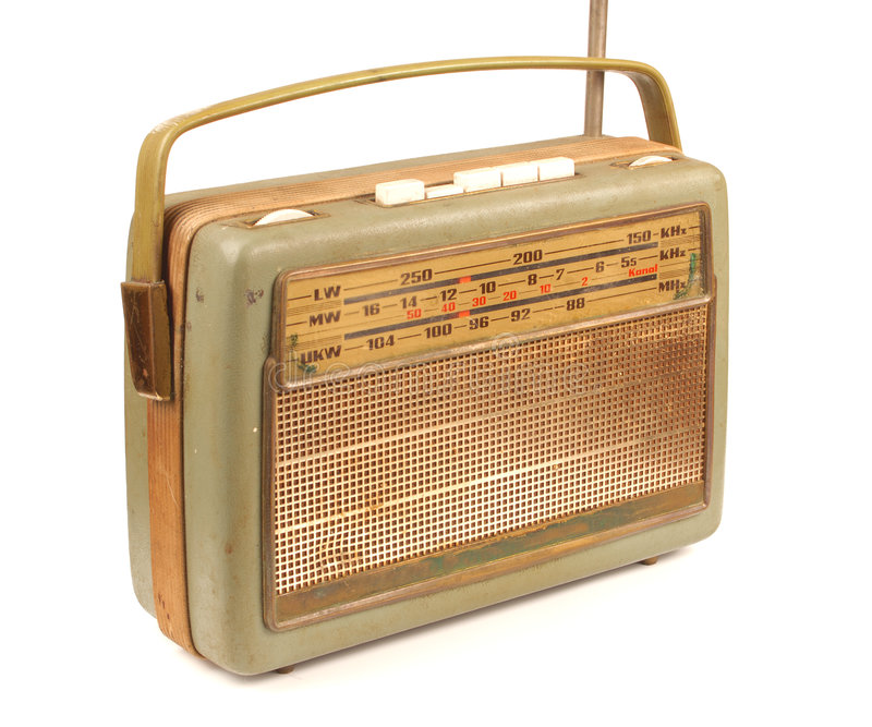 Old dirty radio. Isolated radio from the 60´s royalty free stock image