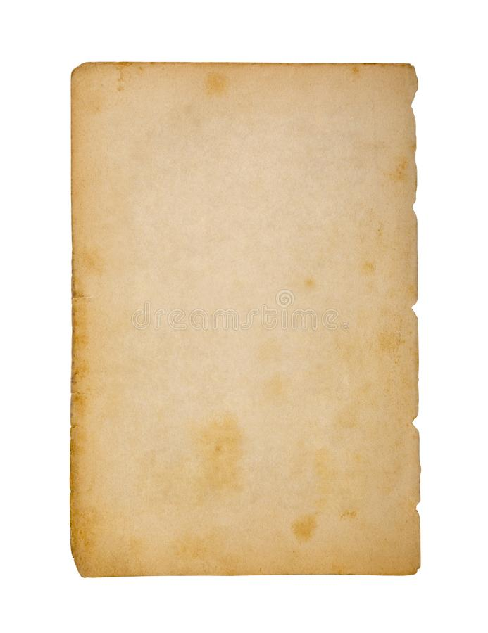 Old and dirty sheet of paper isolated on white background. With clipping path stock photos