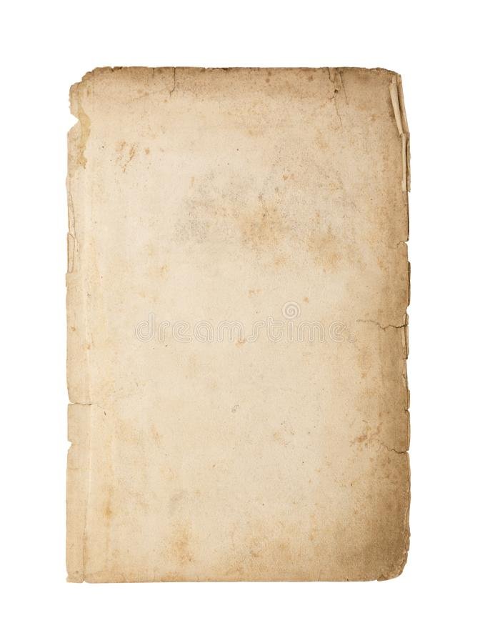 Old and dirty sheet of paper isolated on white background. With clipping path royalty free stock photo
