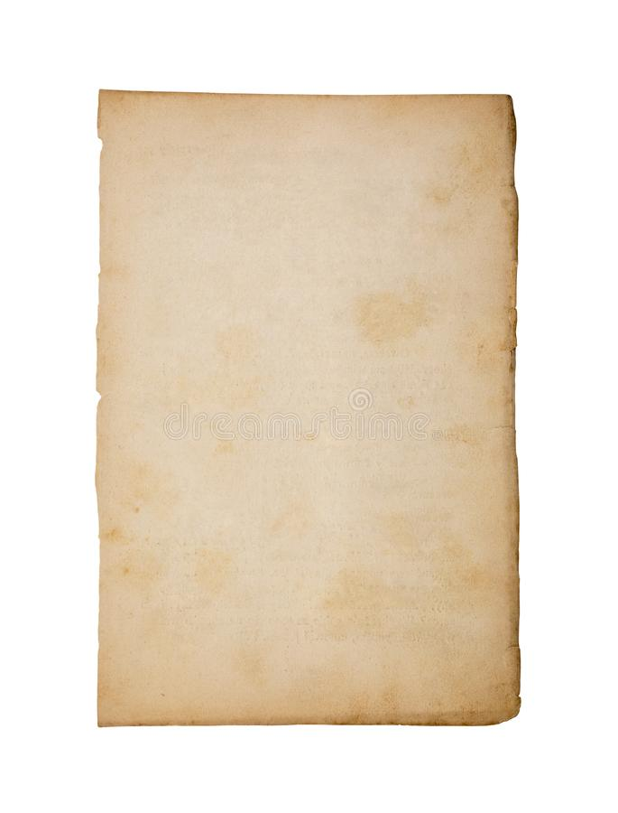 Old and dirty sheet of paper isolated on white background. With clipping path stock photo