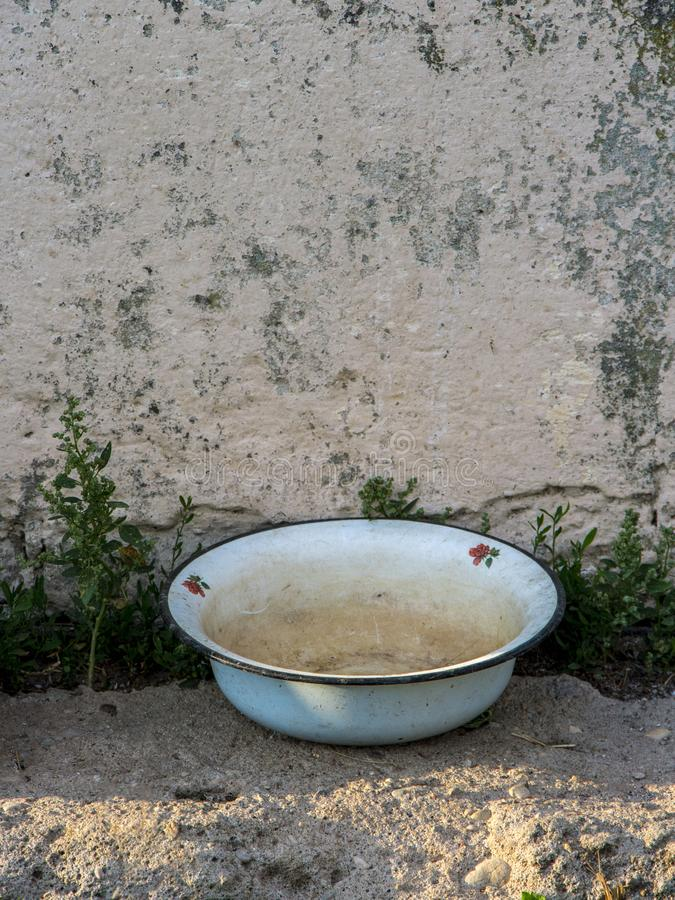 Old metal bowl royalty free stock images