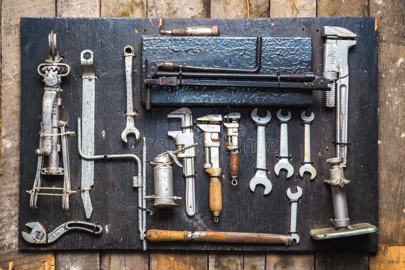 Old dirty tools set, car mechanics wrenches royalty free stock image